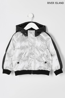 River Island Silver Zip Through Padded Jacket