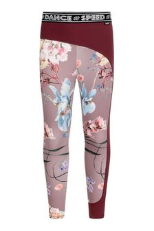 Girls Pink Floral Sports Leggings