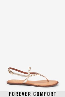 Forever Comfort® Extra Wide Fit Studded Toe Post Sandals