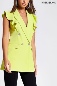 River Island Lime Sleeveless Blazer
