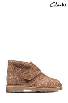Clarks Gold Leather Desert Boots