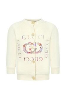 GUCCI Kids Baby Girls White Cotton Cardigan