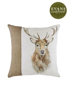 Hessian Stag Cushion by Evans Lichfield
