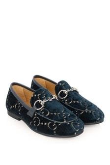 Navy Velvet GG Jordaan Loafers