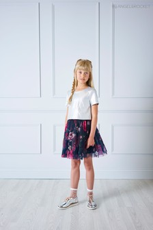 Angel & Rocket Silver Foil Top Floral Skirt Dress