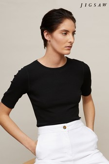 Jigsaw Black Ribbed Crew Neck Top