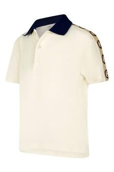Baby Boys Ivory Piquet Trim Logo Polo Top
