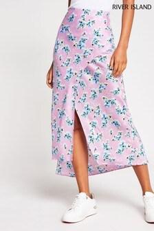 River Island Purple  Floral Satin Bias Midi Skirt