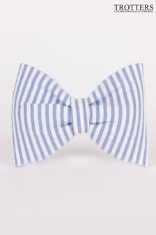 Trotters London Blue Seersucker Hair Bow