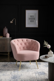 Stella Button Accent Chair With Gold Finish Legs
