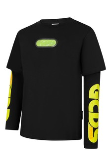 Kids Black Cotton Long Sleeves T-Shirt
