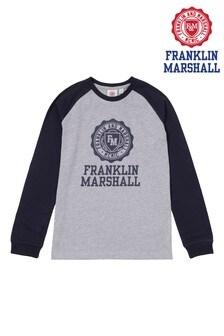 Franklin & Marshall Grey Raglan Vintage Crest T-Shirt