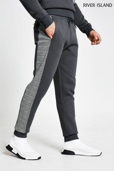 River Island Grey Slim Check Knitted Joggers