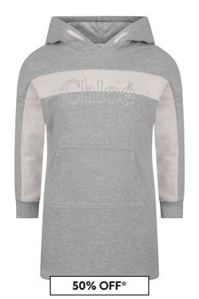 Girls Grey Cotton Fleece Hooded Dress