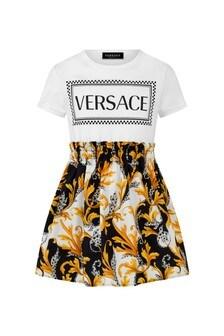 Girls Ivory Black & Gold Cotton Dress