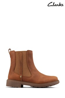 Clarks Tan Leather Astrol Orin Boots