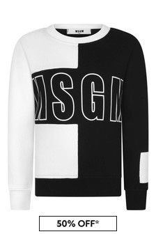 Boys Black And White Block Colour Cotton Sweatshirt