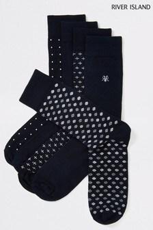 River Island Navy Spot 5 Pack Socks