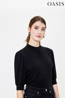 Oasis Black Balloon Sleeve Turtle Neck Top