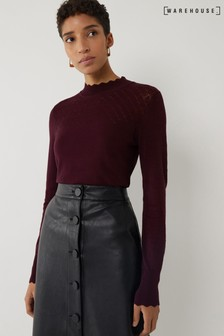 Warehouse Pointelle Yoke High Neck Top