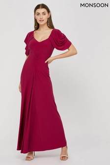 Monsoon Pink Cynthia Ruched Sleeve Maxi Dress