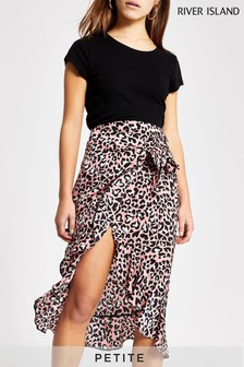 River Island Pink Medium Animal Print Ruffle Midi Skirt