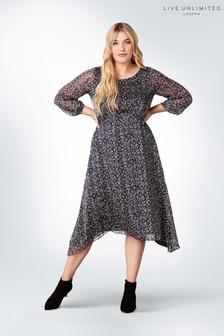 Live Unlimted Navy Ditsy Floral Dress