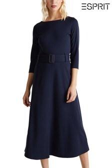 Esprit Blue Knitted Dress With Belt Detail