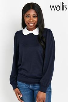 Wallis Ink Shirt Collar Contrast Top