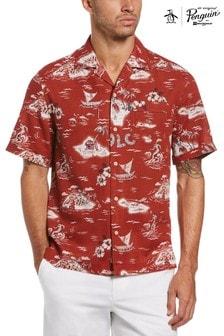 Original Penguin Red Short Sleeve Hula Girl Cabana Shirt