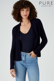 Pure Collection Blue Cotton Textured Cardigan
