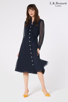 L.K.Bennett Blue Ensor Shirt Dress