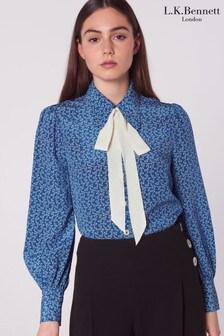 L.K.Bennett Blue Mathilde Bow Print Silk Shirt