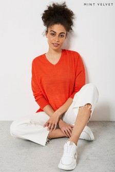 Mint Velvet Orange Linen V-Neck Jumper