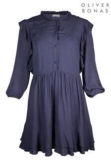 Oliver Bonas Jacquard Spot Frilled Blue Mini Dress
