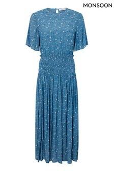 Monsoon Blue Darcia Ditsy Print Sustainable Dress
