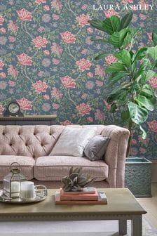 Laura Ashley Dark Seaspray Tapestry Floral Wallpaper