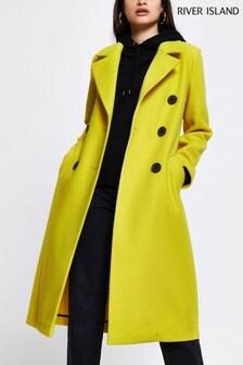 River Island Yellow Drop Shoulder Coat
