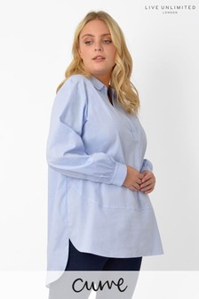 Live Unlimited Curve Pale Blue Cotton Seam Detail Shirt