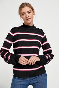 Button Detail Rib Jumper