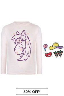 Girls Pink Long Sleeve Horse T-Shirt With Badges