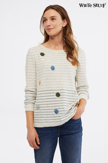 White Stuff Natural Floating Spot Novelty Jumper