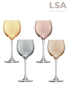 Set of 4 Polka Wine Glasses by LSA International