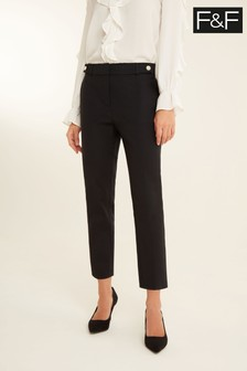 F&F Black Cotton Viscose Trousers