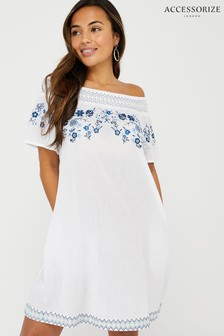 Accessorize White Kaylee Off Shoulder Embroidered Dress