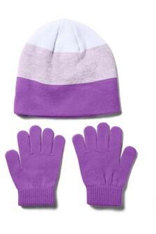 Under Armour Girls Purple Beanie & Gloves Set