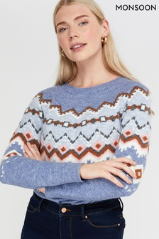 Monsoon Blue Livvy Fairisle Pattern Jumper