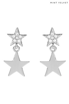 Mint Velvet Rose Gold Plated Pave Star Earrings