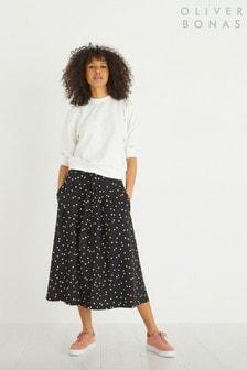 Oliver Bonas Polka Dot Black Midi Skirt