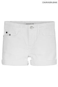 Calvin Klein White Slim Denim Shorts
